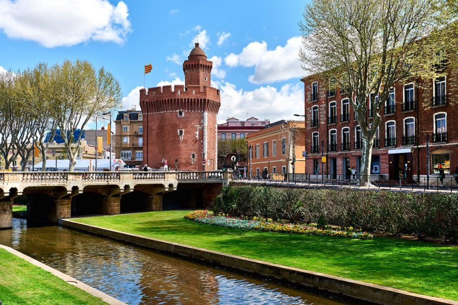 View to the Canal and Castle of Perpignan